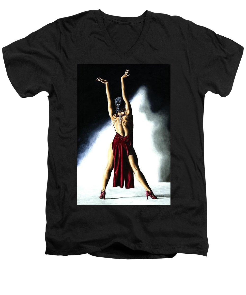 Samba Men's V-Neck T-Shirt featuring the painting Samba Celebration by Richard Young