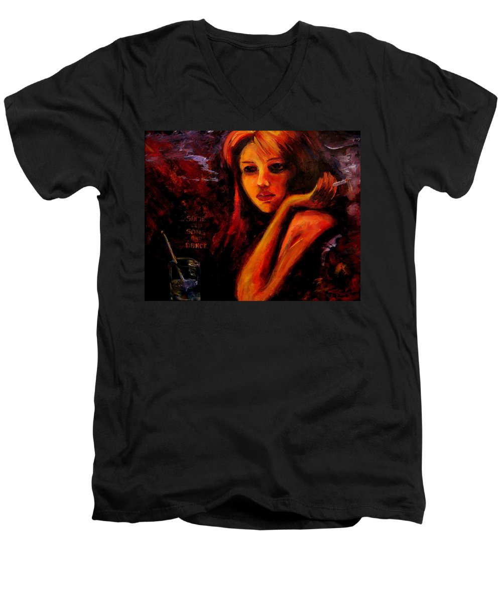 Woman Men's V-Neck T-Shirt featuring the painting Same Old Song And Dance by Jason Reinhardt