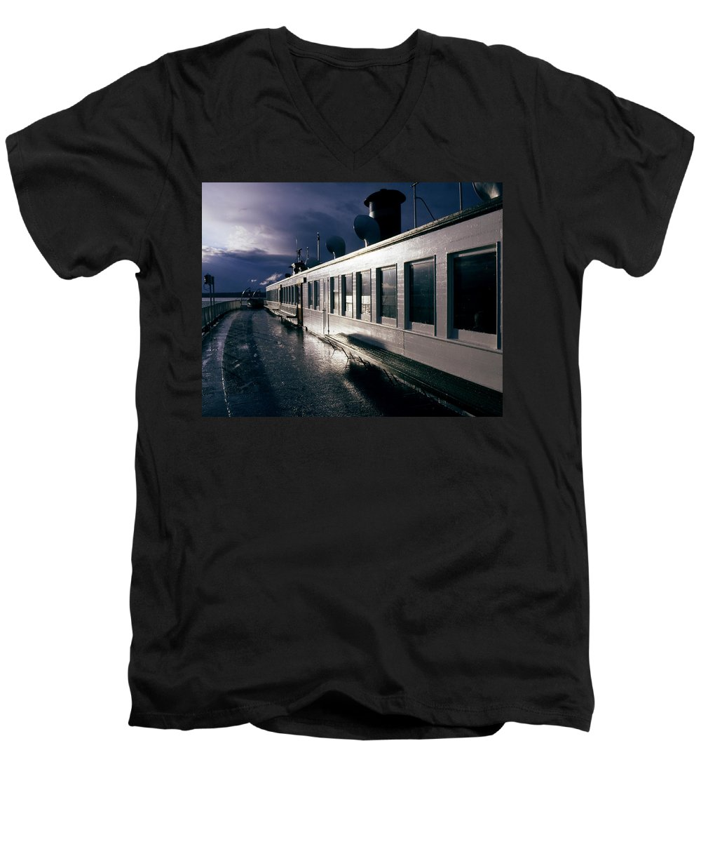 Scenic Men's V-Neck T-Shirt featuring the photograph San Juan Islands Ferry by Lee Santa