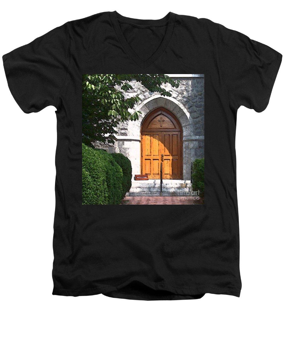 Church Men's V-Neck T-Shirt featuring the photograph Sanctuary by Debbi Granruth