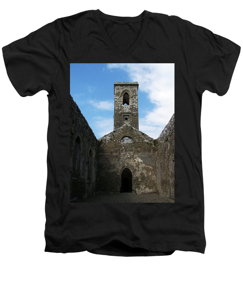 Ireland Men's V-Neck T-Shirt featuring the photograph Sanctuary Fuerty Church Roscommon Ireland by Teresa Mucha