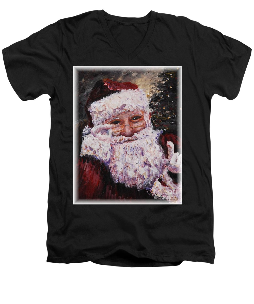 Santa Men's V-Neck T-Shirt featuring the painting Santa Chat by Nadine Rippelmeyer