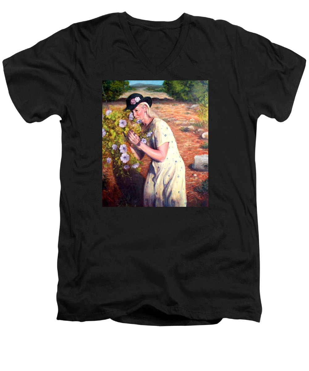 Realism Men's V-Neck T-Shirt featuring the painting Santa Fe Garden 2  by Donelli DiMaria