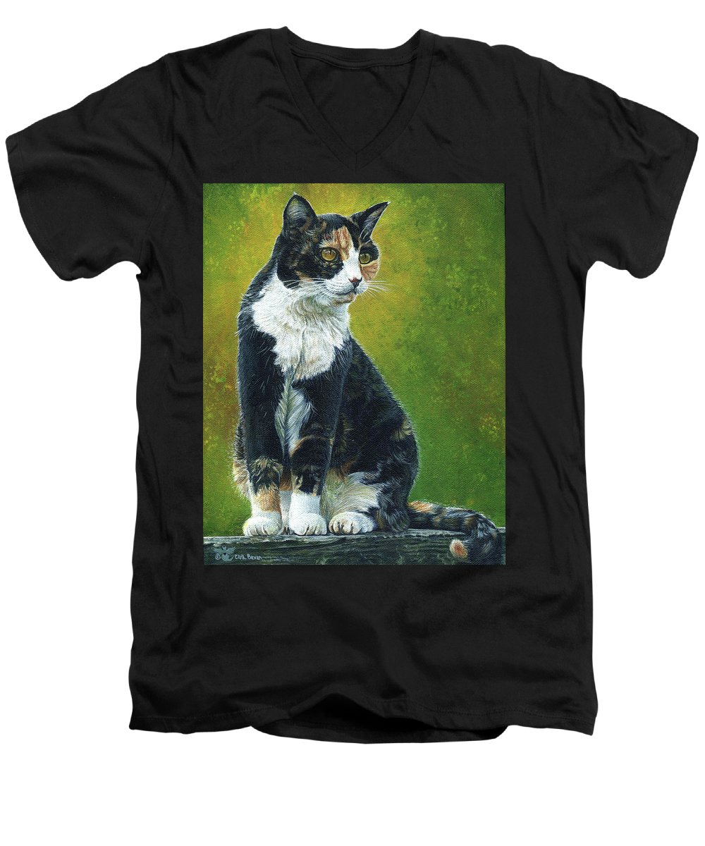 Sassy Men's V-Neck T-Shirt featuring the painting Sassy by Cara Bevan