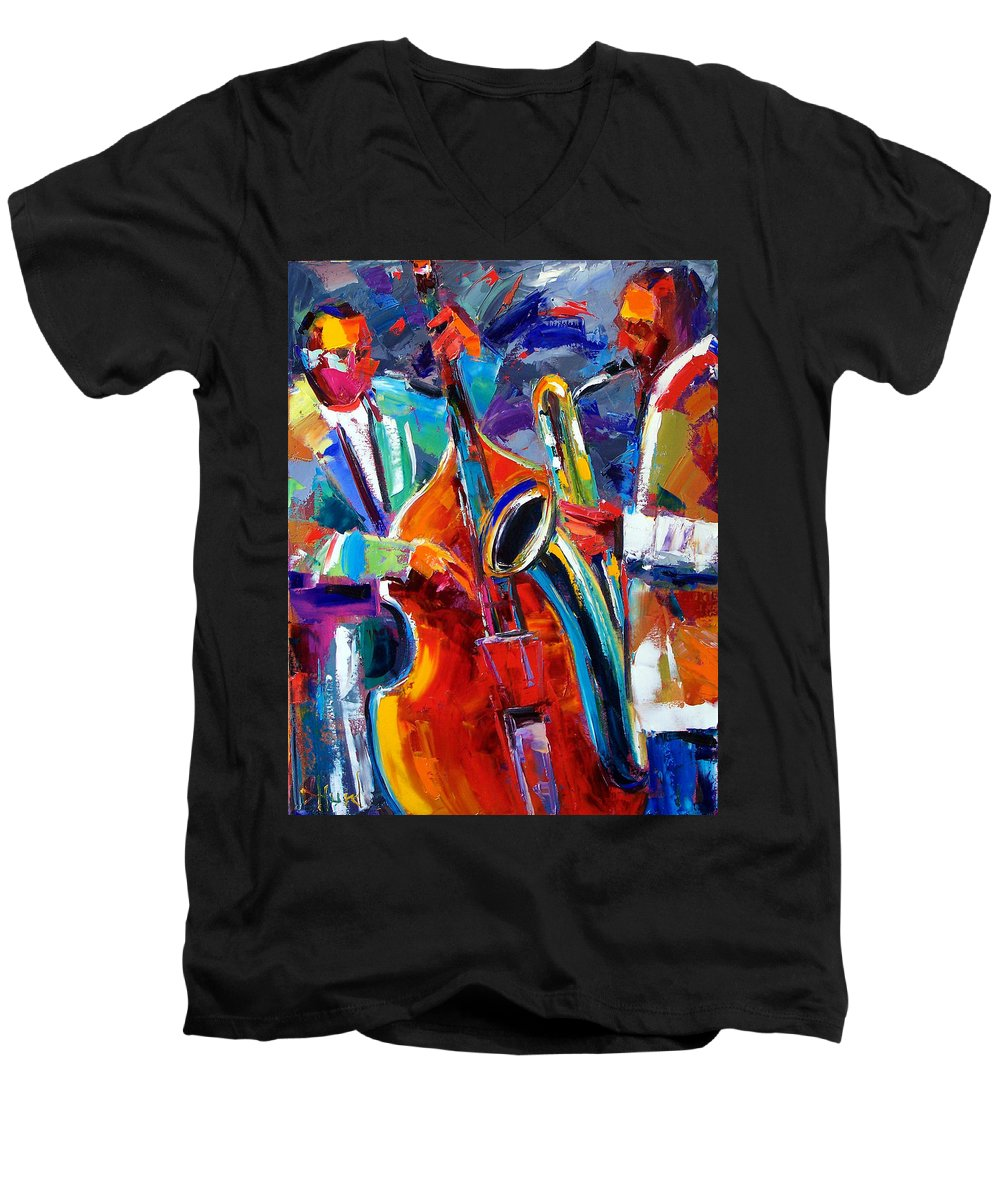Jazz Painting Men's V-Neck T-Shirt featuring the painting Sax And Bass by Debra Hurd