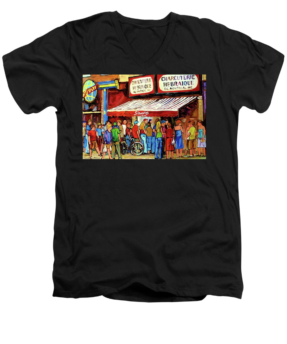 Schwartz Deli Men's V-Neck T-Shirt featuring the painting Schwartzs Deli Lineup by Carole Spandau