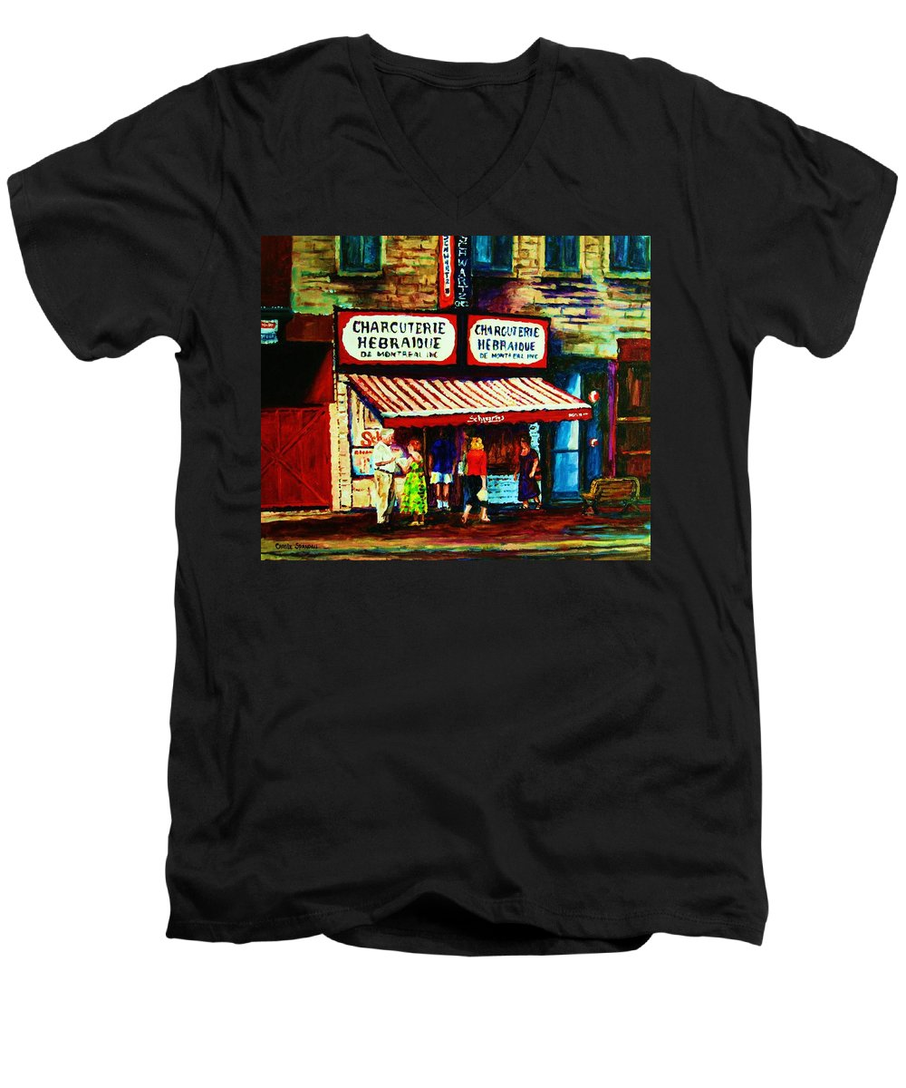 Schwartz Deli Men's V-Neck T-Shirt featuring the painting Schwartzs Famous Smoked Meat by Carole Spandau
