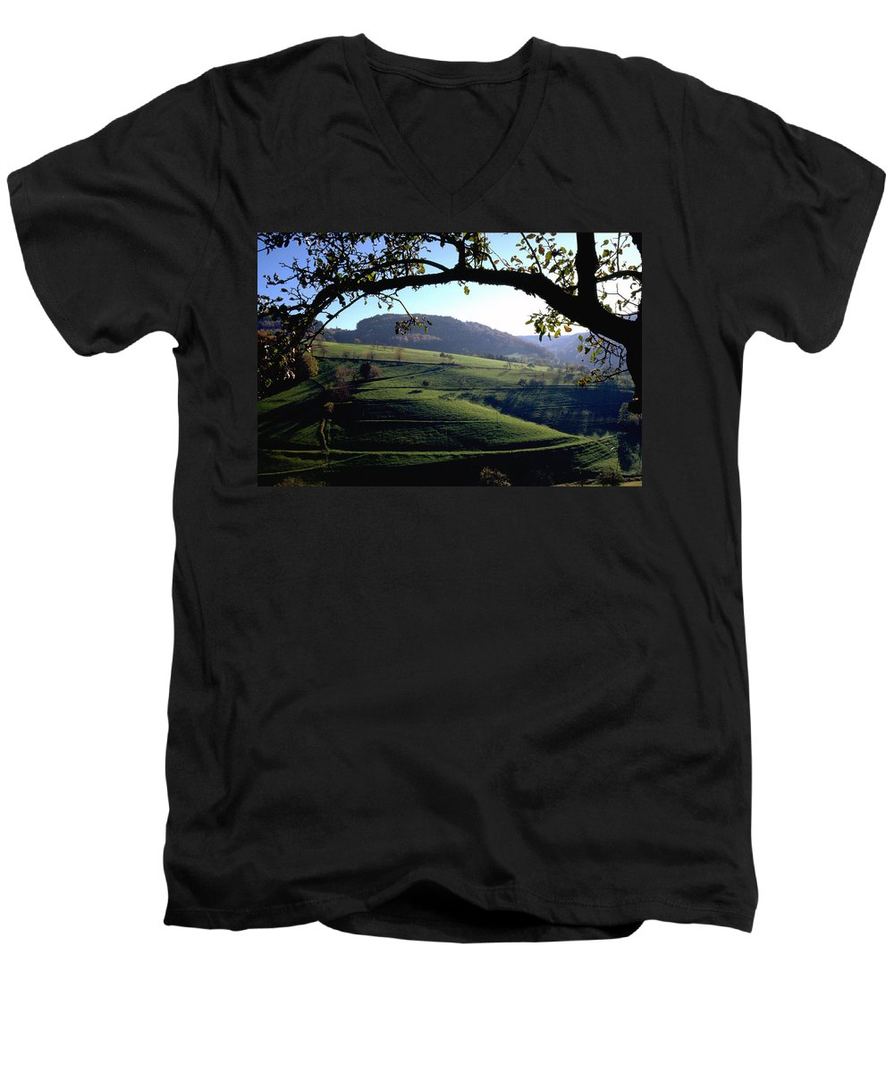 Schwarzwald Men's V-Neck T-Shirt featuring the photograph Schwarzwald by Flavia Westerwelle