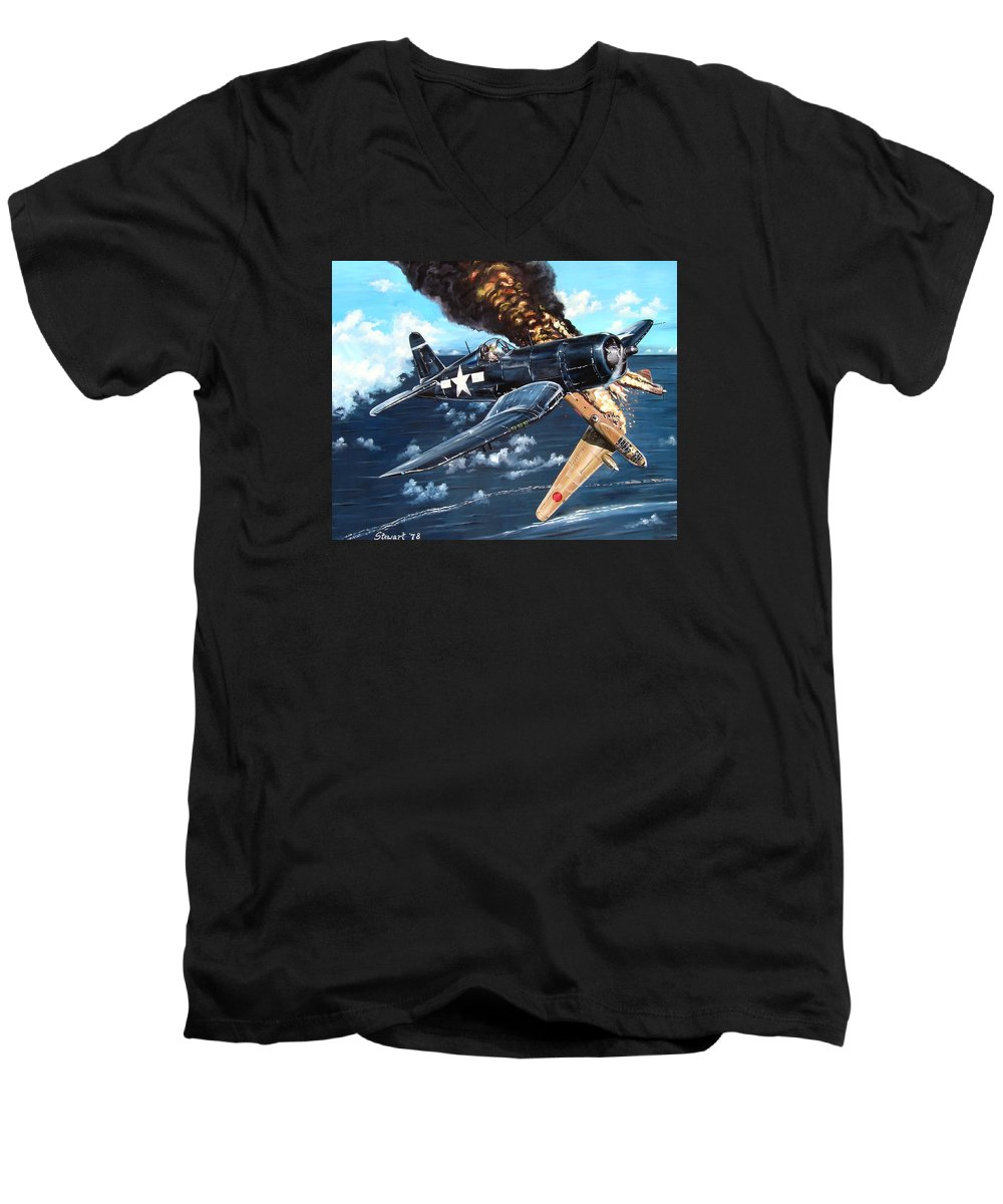 Military Men's V-Neck T-Shirt featuring the painting Scratch One Betty by Marc Stewart