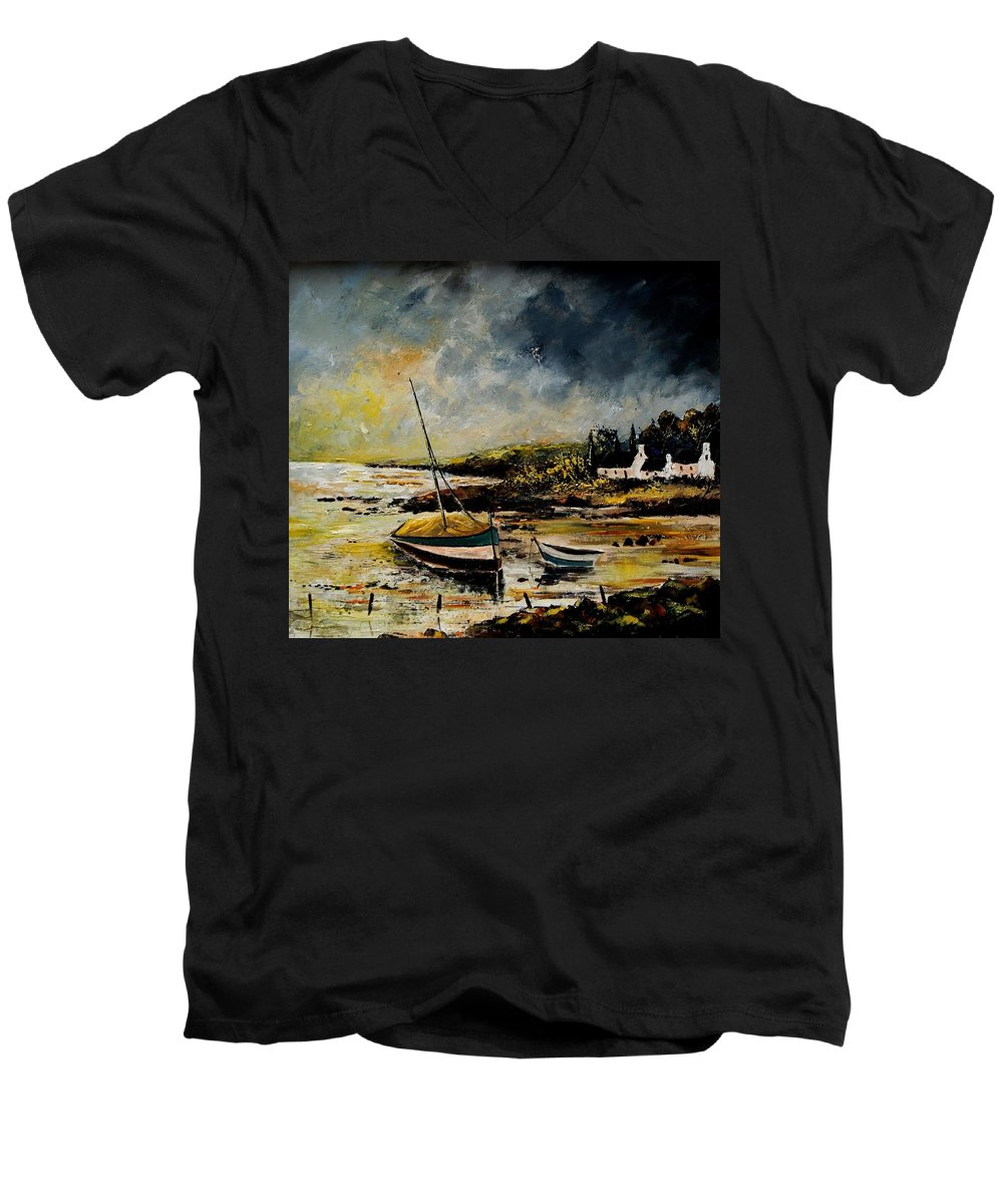 Sea Men's V-Neck T-Shirt featuring the painting Seascape 452654 by Pol Ledent