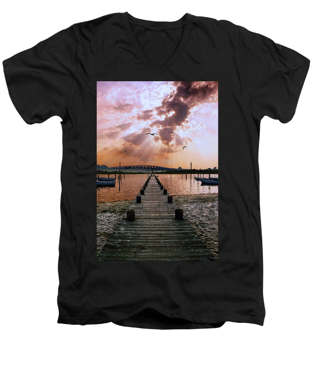 Seascape Men's V-Neck T-Shirt featuring the photograph Seaside by Steve Karol