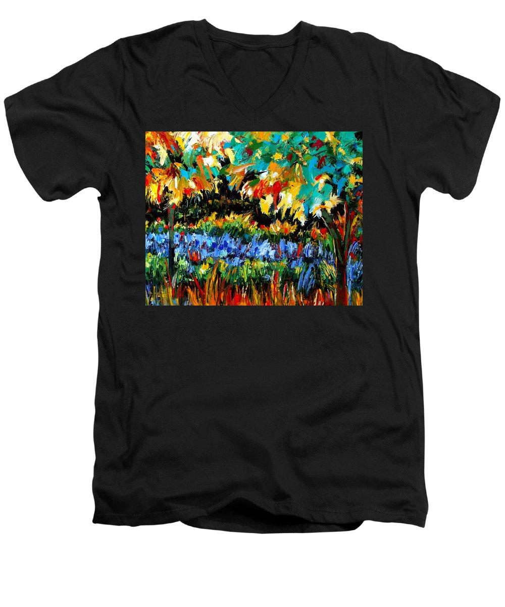 Landscape Men's V-Neck T-Shirt featuring the painting Secret Garden by Debra Hurd