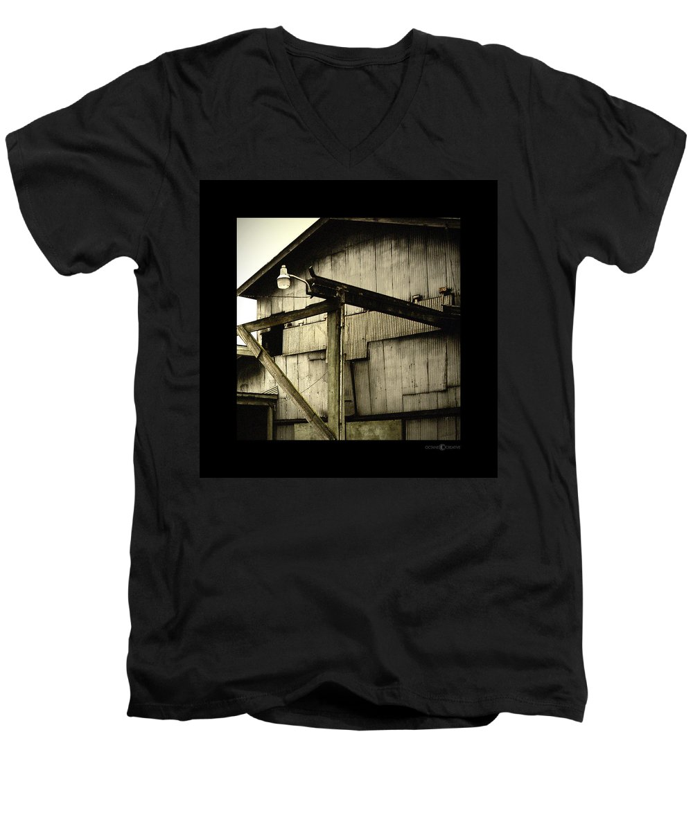 Corrugated Men's V-Neck T-Shirt featuring the photograph Security Light by Tim Nyberg