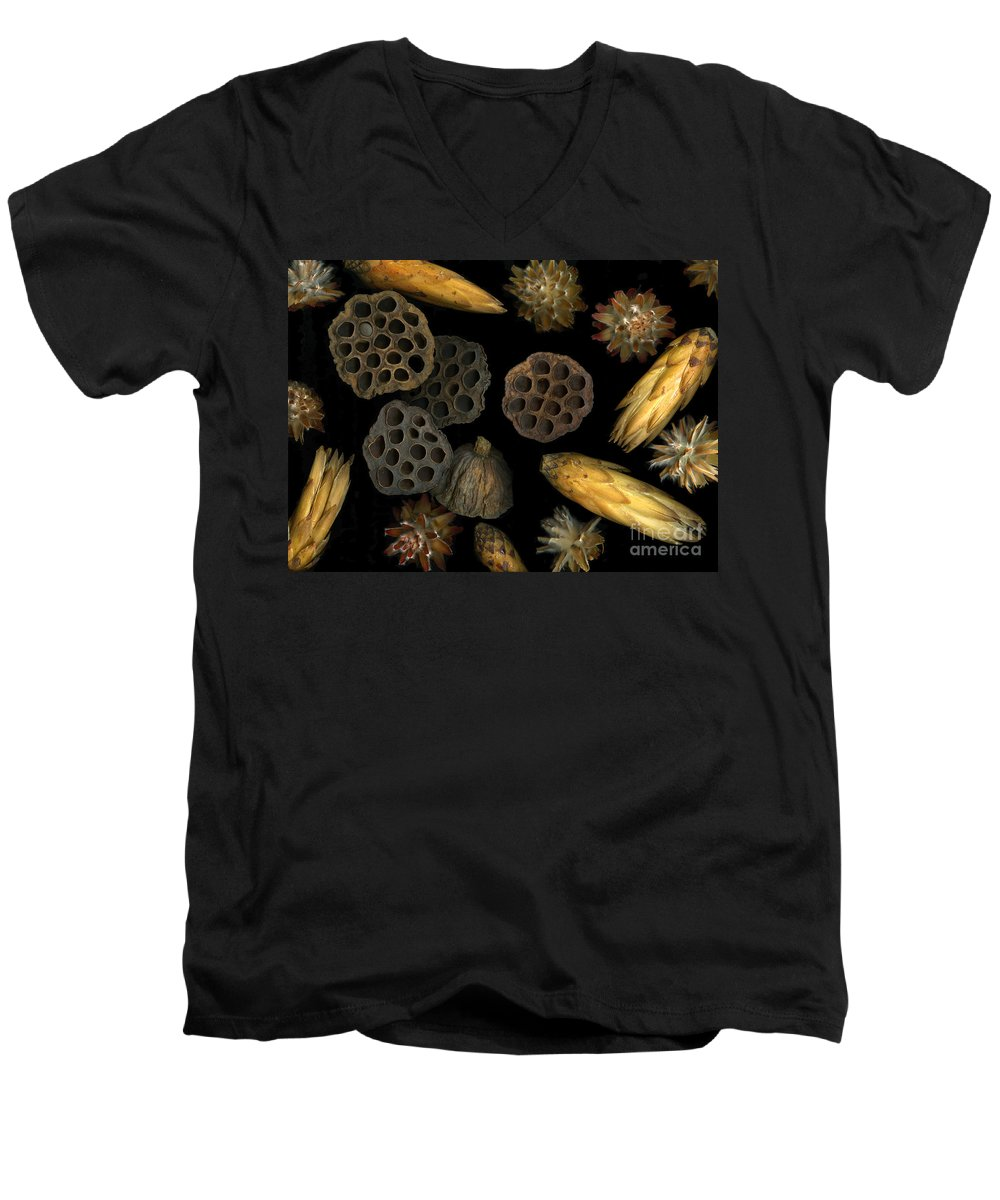 Pods Men's V-Neck T-Shirt featuring the photograph Seeds And Pods by Christian Slanec