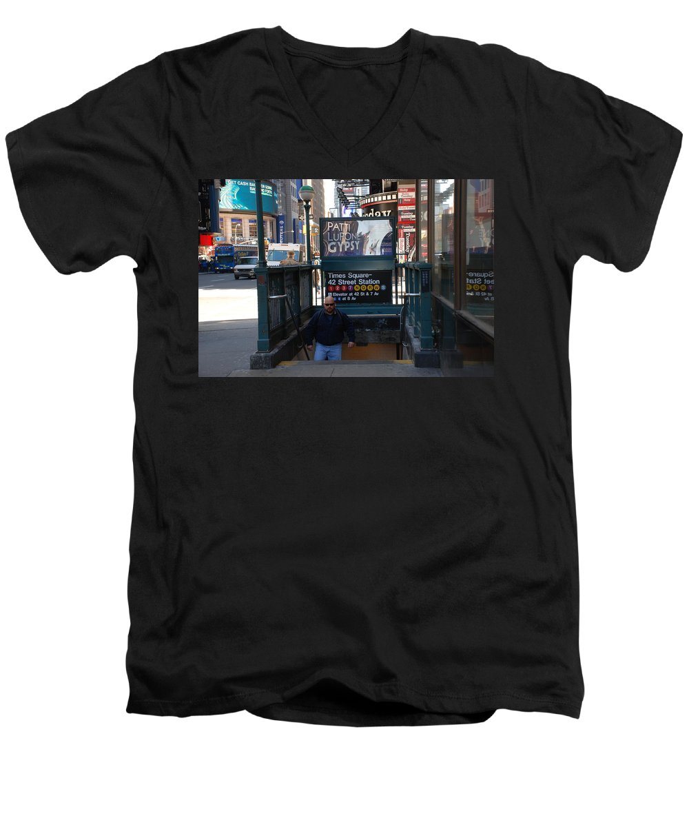 Subay Men's V-Neck T-Shirt featuring the photograph Self At Subway Stairs by Rob Hans