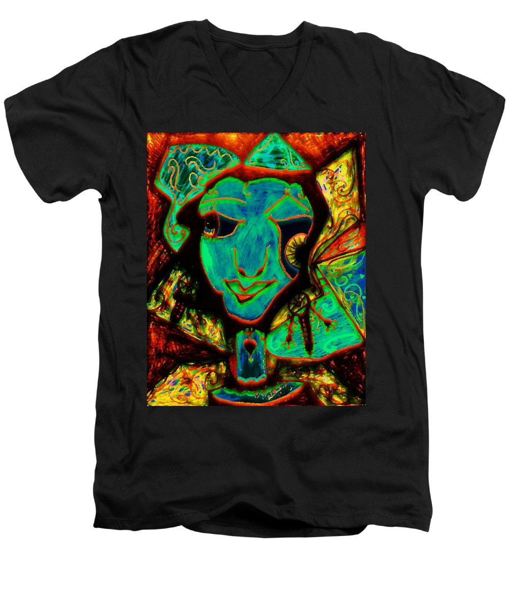Fantasy Men's V-Neck T-Shirt featuring the painting Self Portrait by Natalie Holland