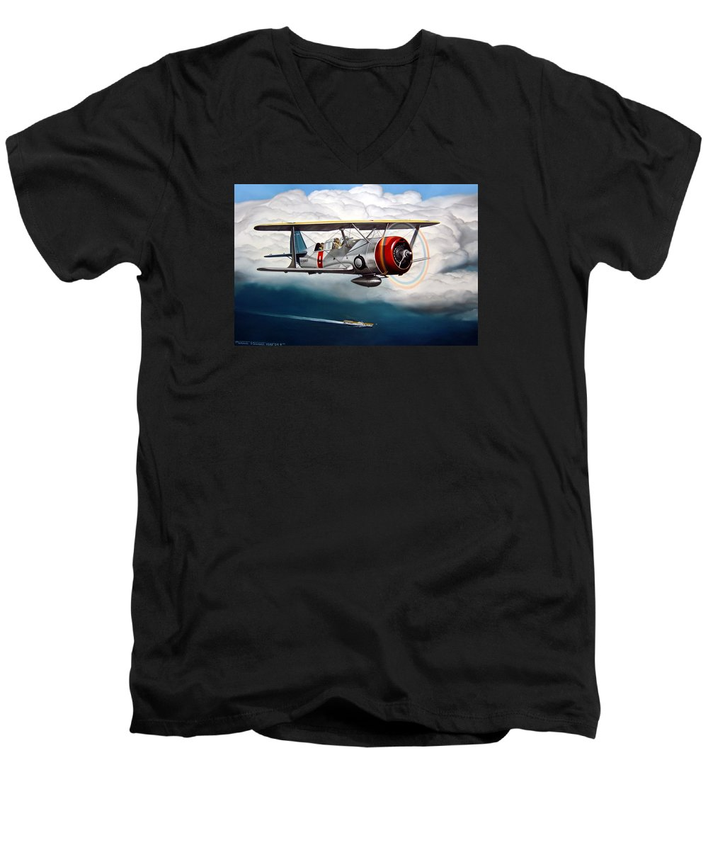 Aviation Men's V-Neck T-Shirt featuring the painting Shakedown Cruise by Marc Stewart
