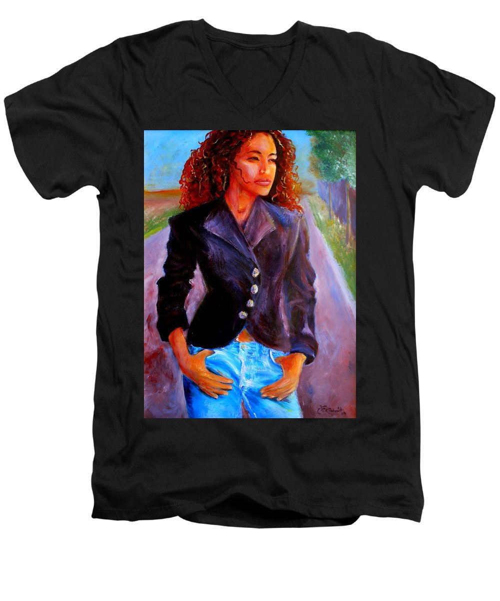 Acrylic Men's V-Neck T-Shirt featuring the painting Sharice by Jason Reinhardt