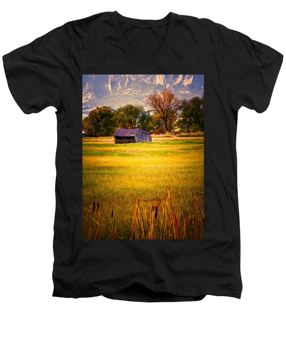Shed Men's V-Neck T-Shirt featuring the photograph Shed In Sunlight by Marilyn Hunt
