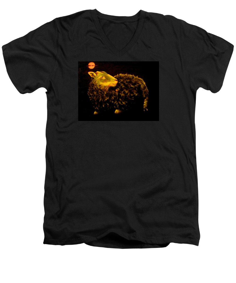 Sheep Men's V-Neck T-Shirt featuring the painting Sheep At Night by Mark Cawood