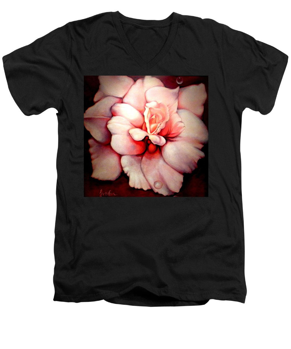 Blooms.large Rose Men's V-Neck T-Shirt featuring the painting Sheer Bliss by Jordana Sands