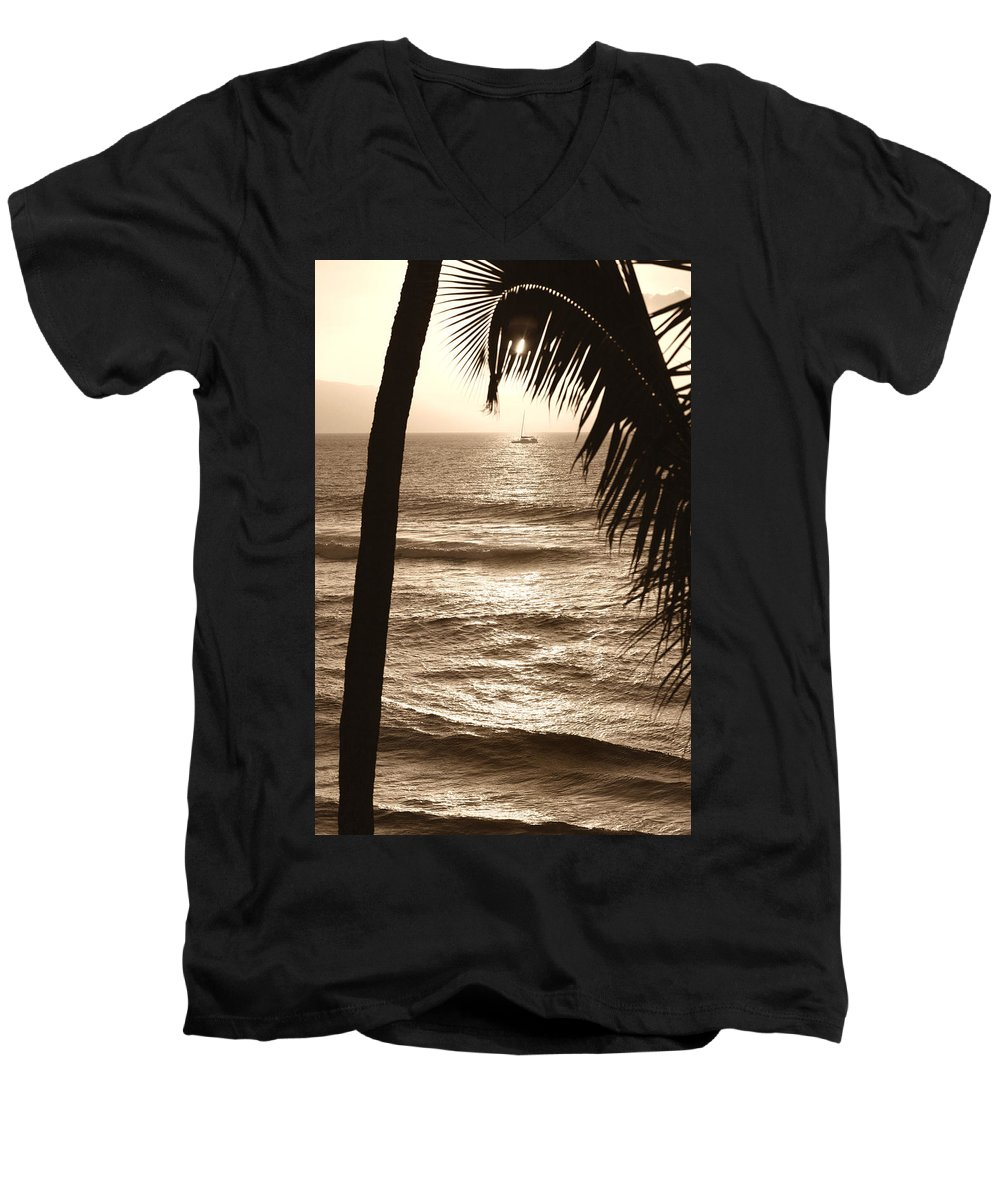 Hawaii Men's V-Neck T-Shirt featuring the photograph Ship In Sunset by Marilyn Hunt