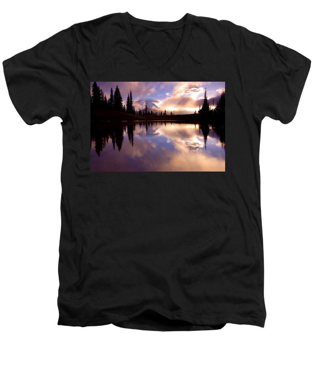 Rainier Men's V-Neck T-Shirt featuring the photograph Shrouded In Clouds by Mike Dawson