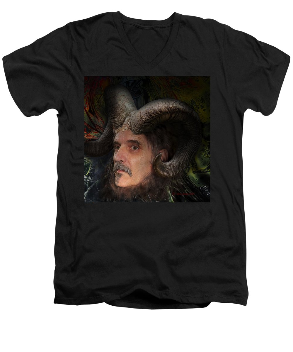Surrealism Men's V-Neck T-Shirt featuring the digital art Silenus by Otto Rapp
