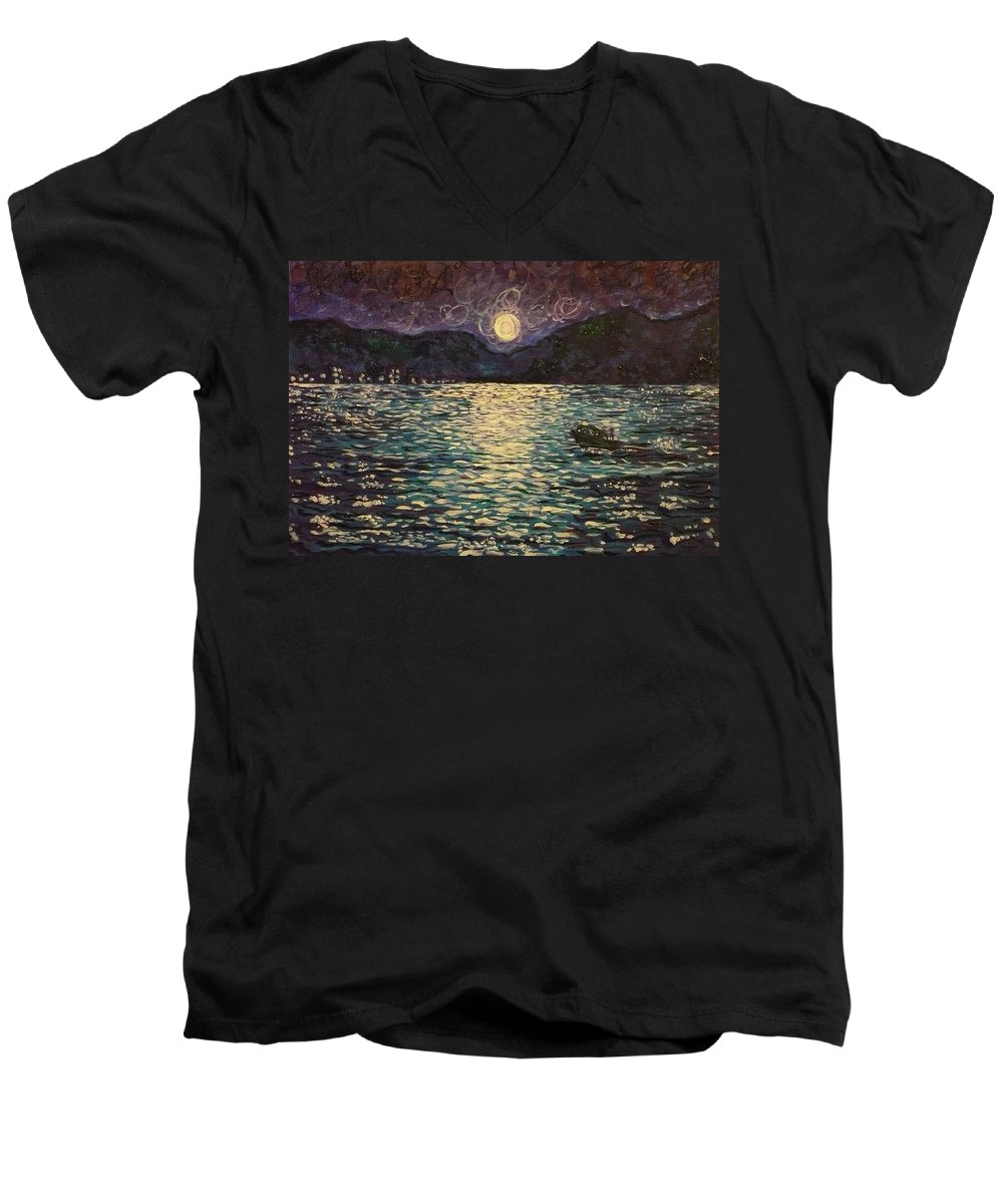 Landscape Men's V-Neck T-Shirt featuring the painting Silver Sea by Ericka Herazo