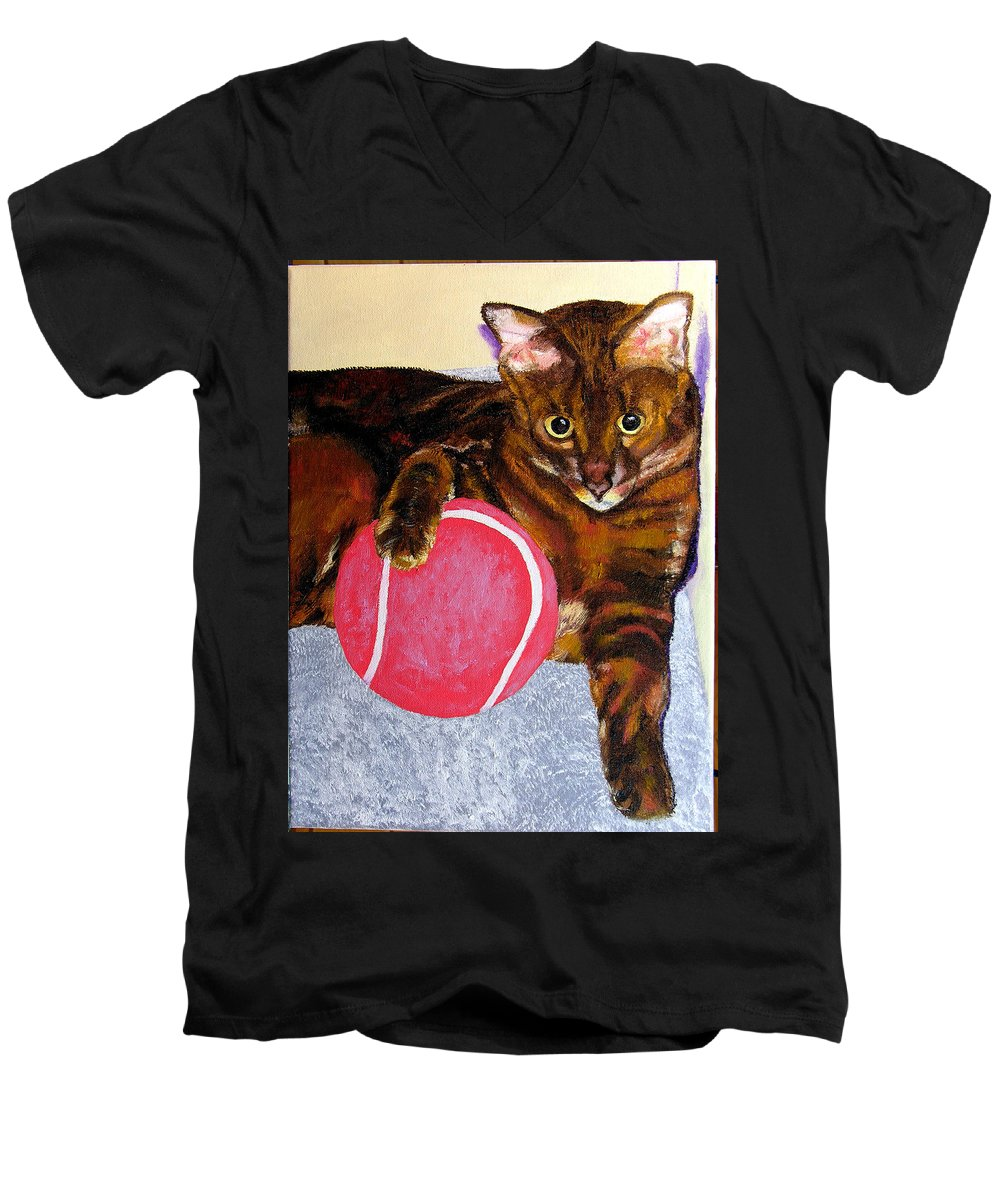 Cat Men's V-Neck T-Shirt featuring the painting Simon by Stan Hamilton