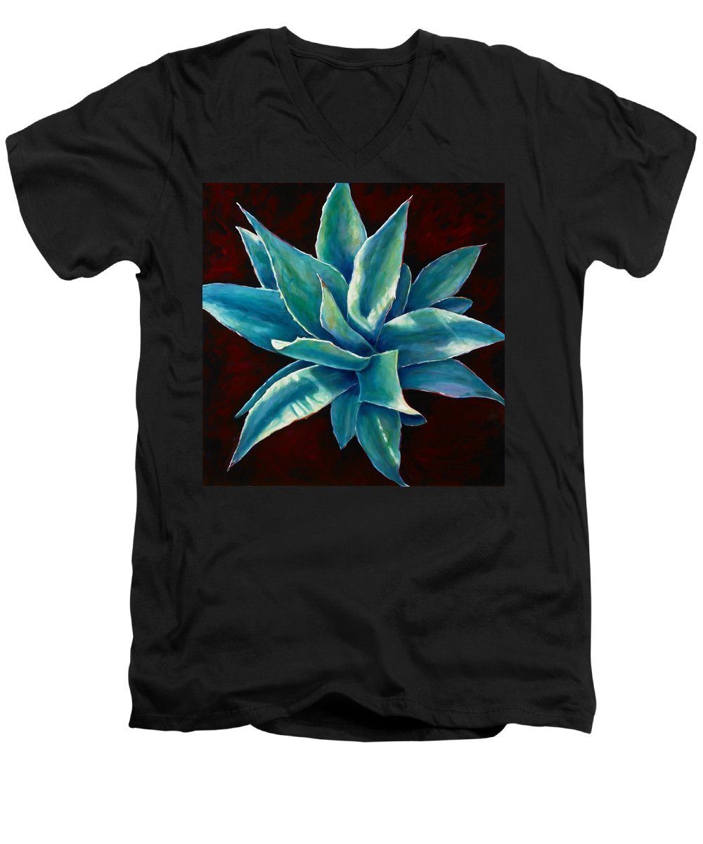 Agave Men's V-Neck T-Shirt featuring the painting Simply Succulent by Shannon Grissom