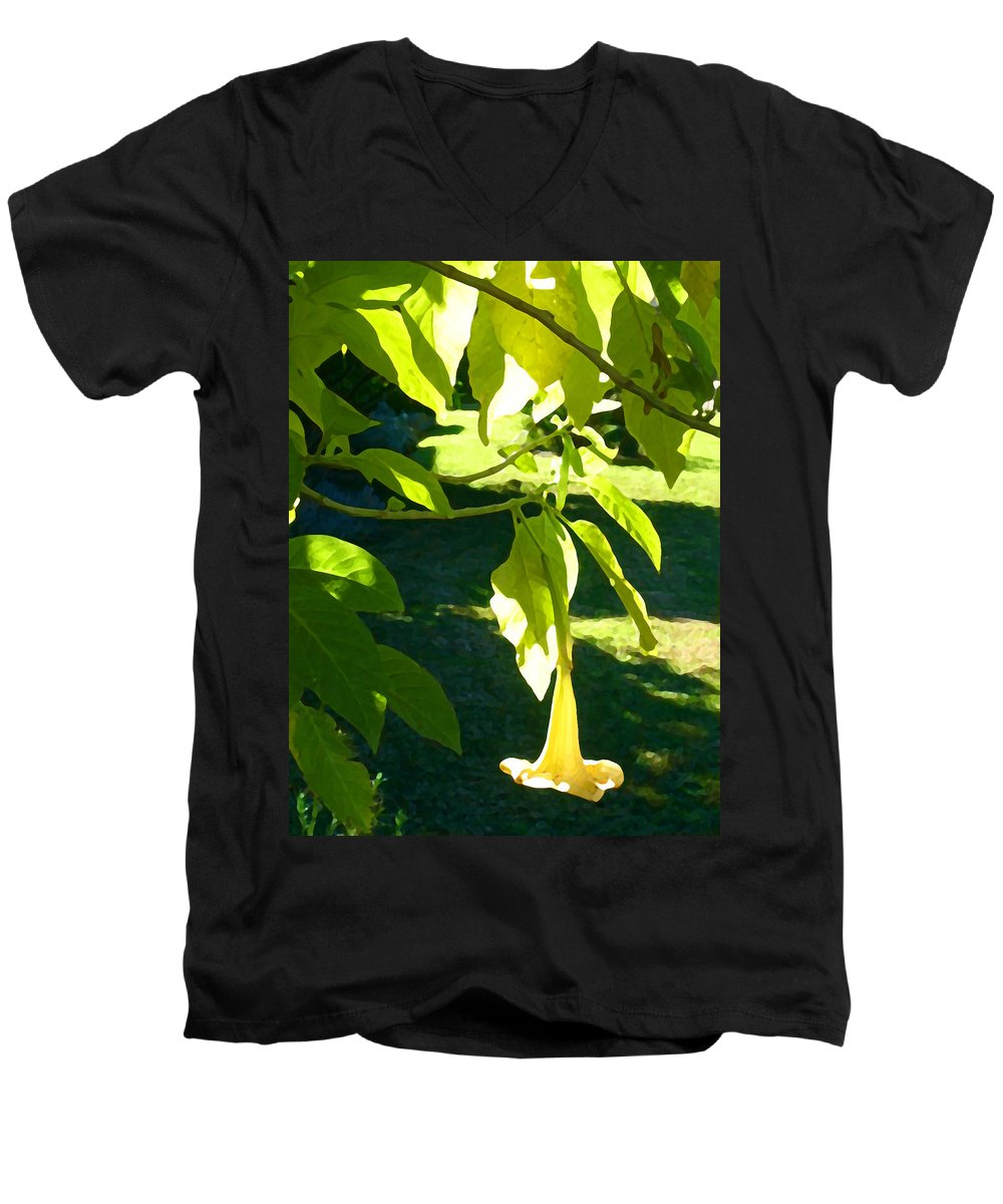 Spring Men's V-Neck T-Shirt featuring the painting Single Angel's Trumpet by Amy Vangsgard