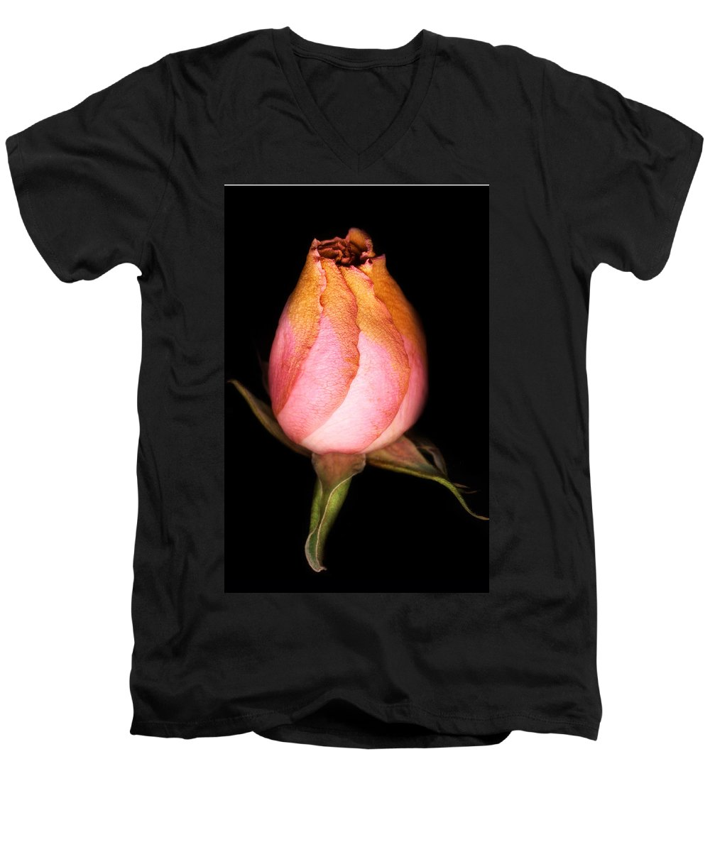 Rose Men's V-Neck T-Shirt featuring the photograph single Rose by Marilyn Hunt