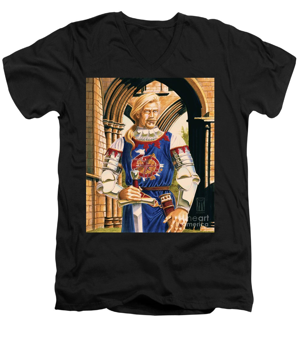 Swords Men's V-Neck T-Shirt featuring the painting Sir Dinadan by Melissa A Benson