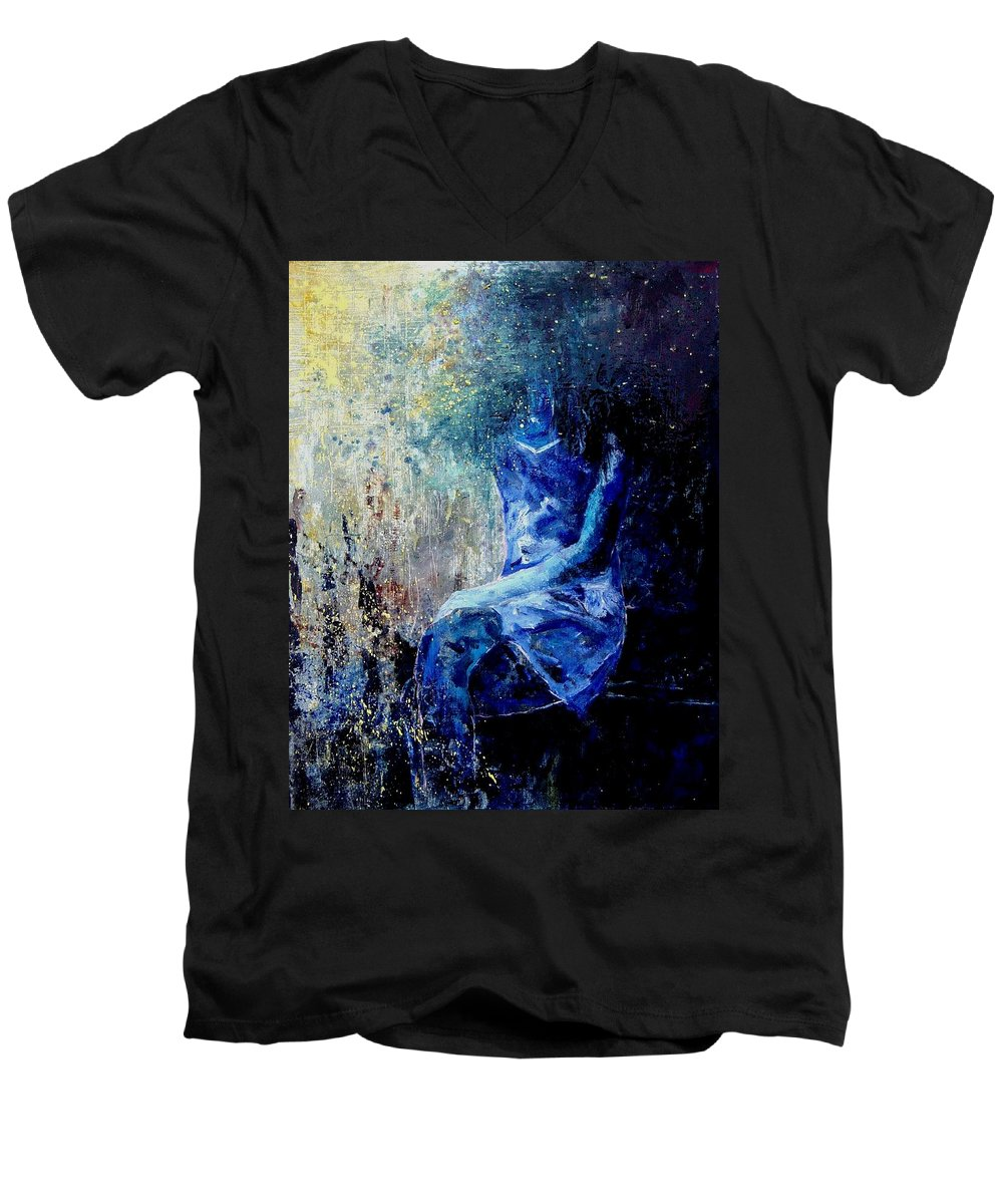 Woman Girl Fashion Men's V-Neck T-Shirt featuring the painting Sitting Young Girl by Pol Ledent