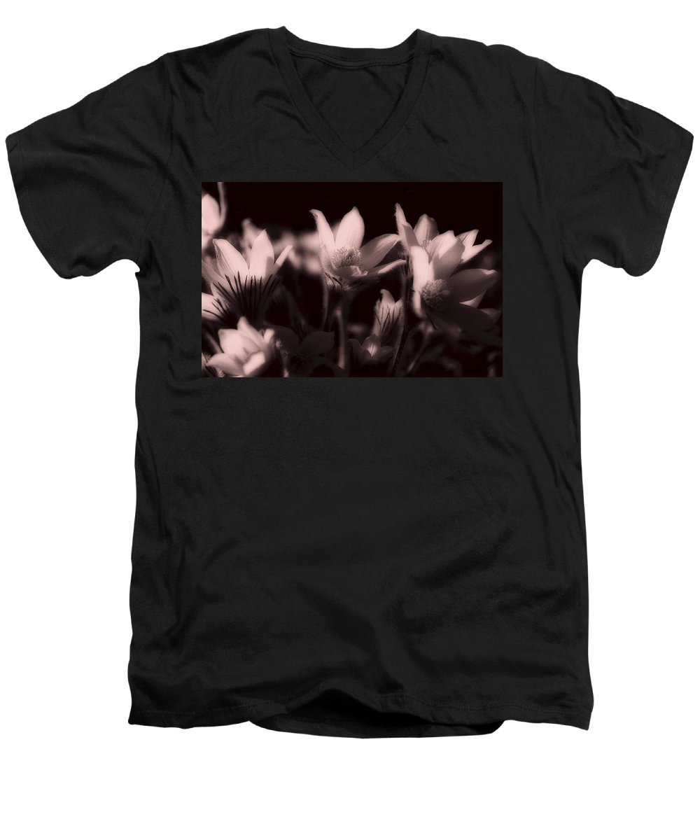 Flowers Men's V-Neck T-Shirt featuring the photograph Sleepy Flowers 2 by Marilyn Hunt