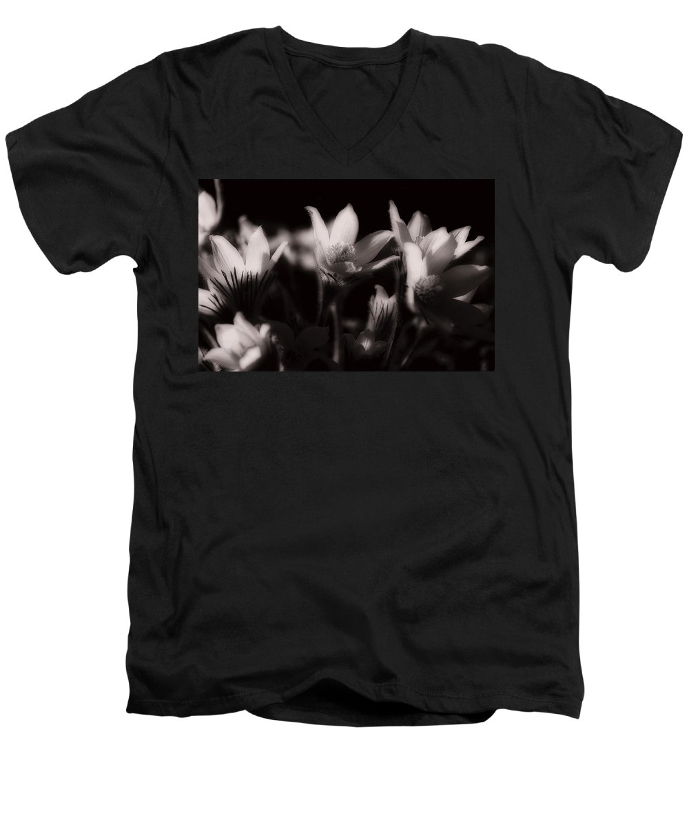 Flowers Men's V-Neck T-Shirt featuring the photograph Sleepy Flowers by Marilyn Hunt