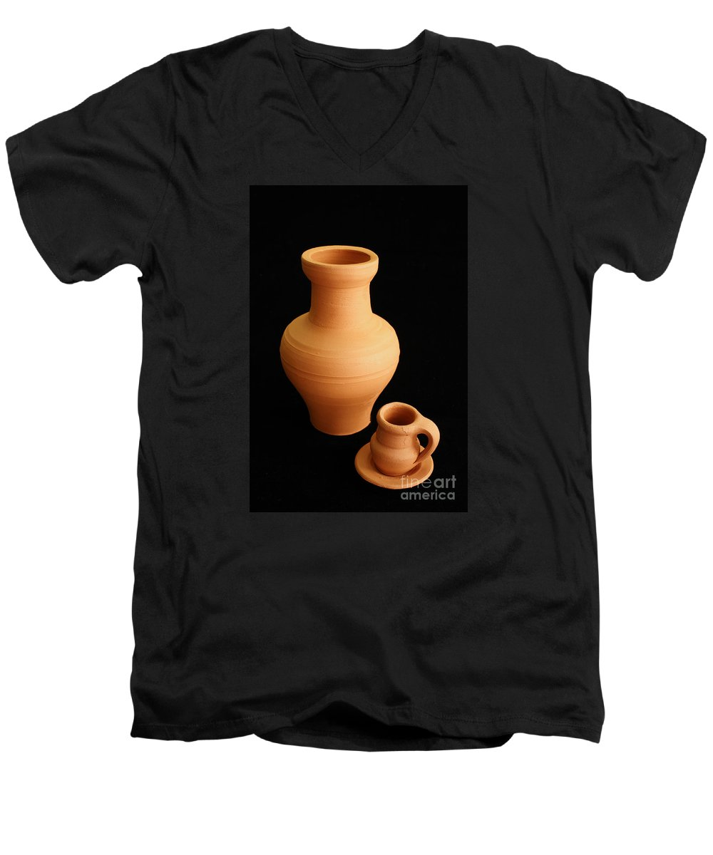 Ceramics Men's V-Neck T-Shirt featuring the photograph Small Pottery Items by Gaspar Avila