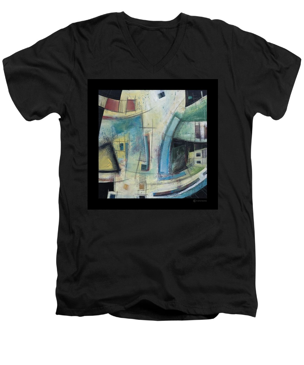 Abstract Men's V-Neck T-Shirt featuring the painting Small Town Blues by Tim Nyberg