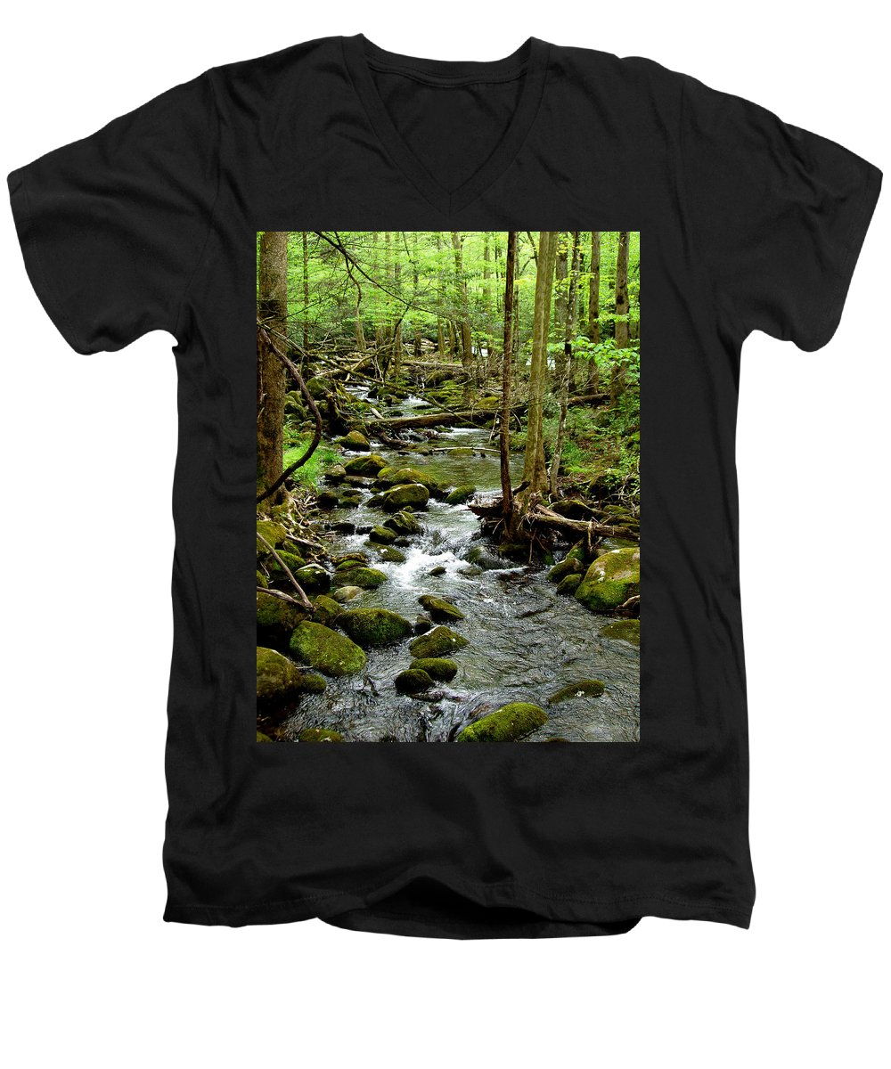 River Men's V-Neck T-Shirt featuring the photograph Smoky Mountain Stream 2 by Nancy Mueller