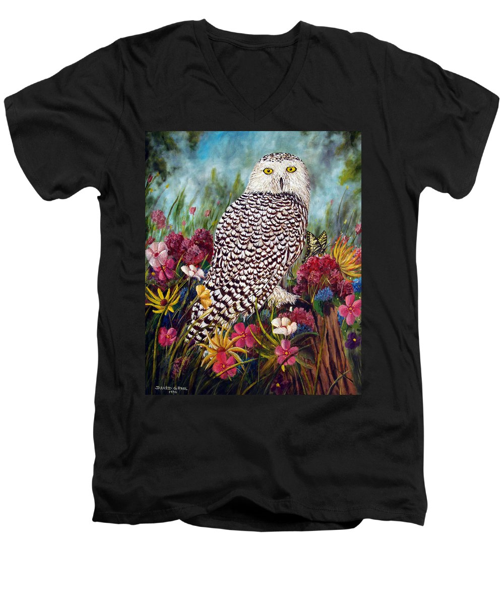 Owl Men's V-Neck T-Shirt featuring the painting Snowy Owl by David G Paul