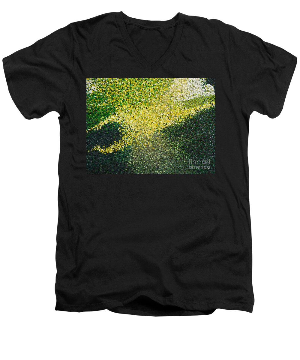 Abstract Men's V-Neck T-Shirt featuring the painting Soft Green Light by Dean Triolo