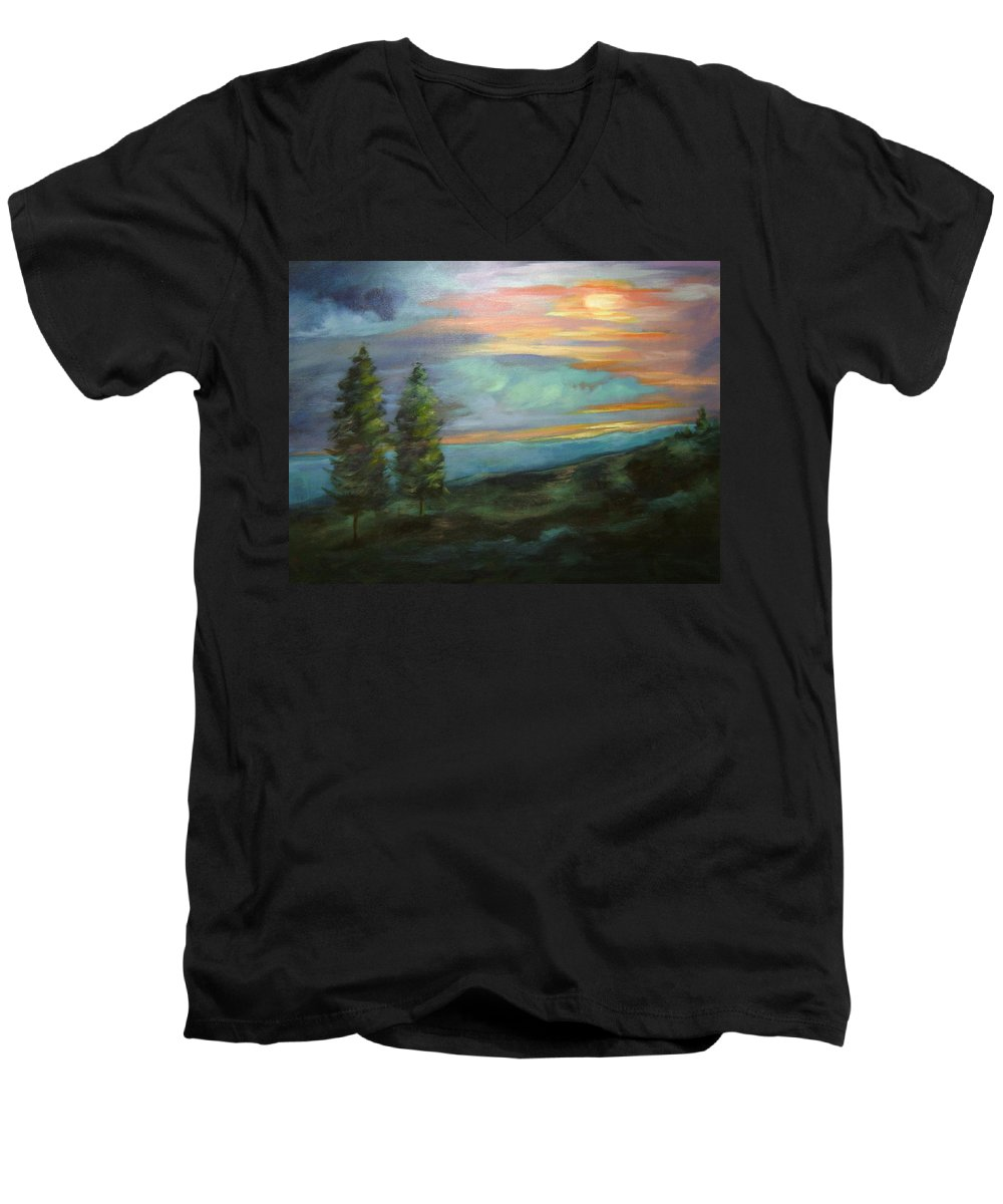 Landscape Men's V-Neck T-Shirt featuring the painting Soledad by Ginger Concepcion