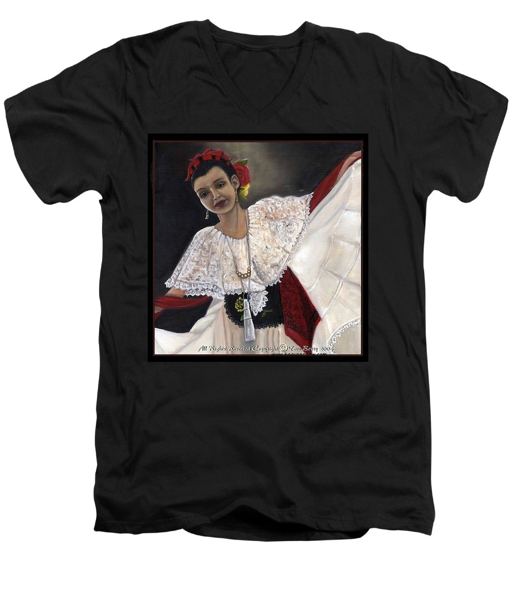 Men's V-Neck T-Shirt featuring the painting Solita by Toni Berry