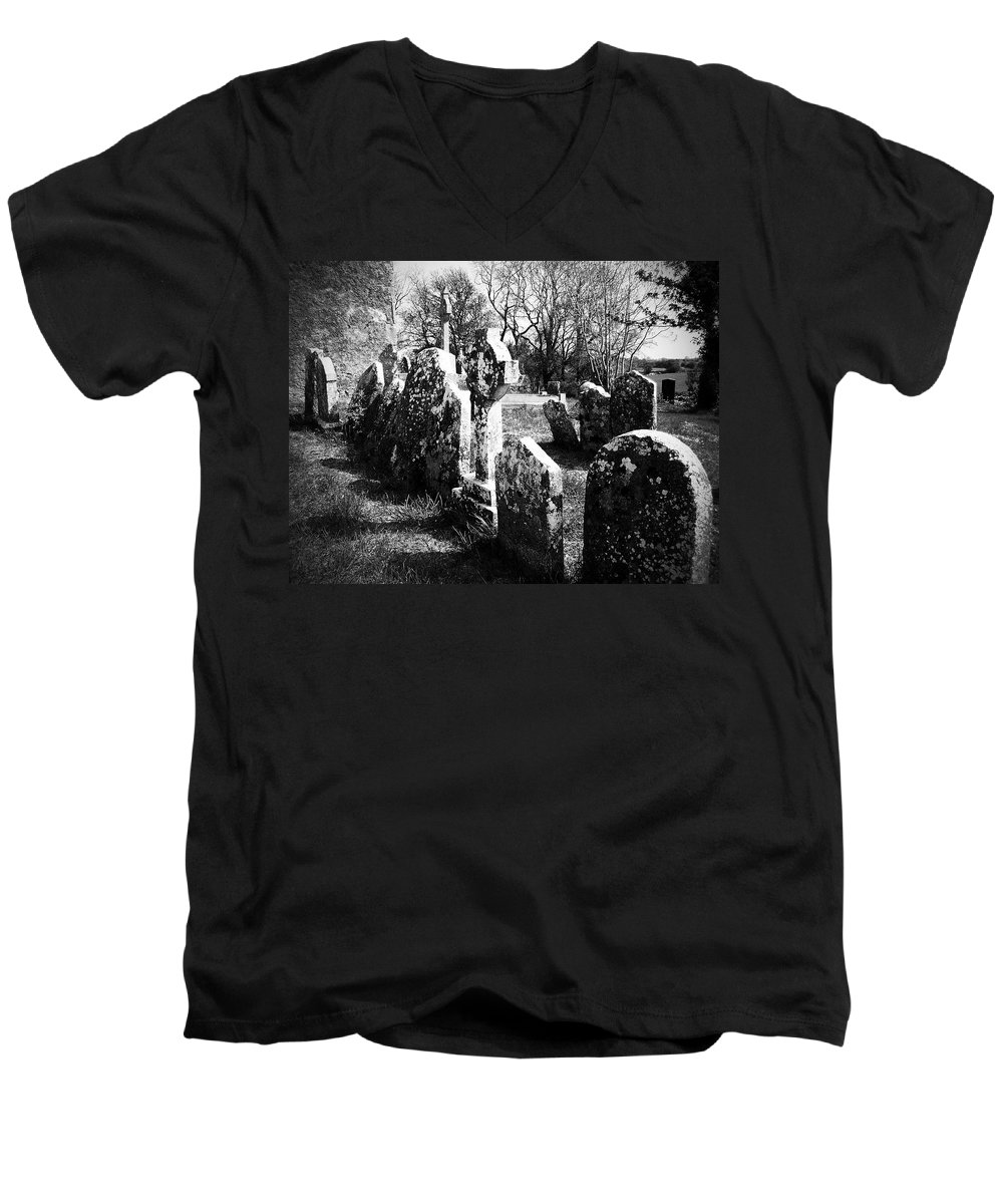 Ireland Men's V-Neck T-Shirt featuring the photograph Solitary Cross At Fuerty Cemetery Roscommon Irenand by Teresa Mucha