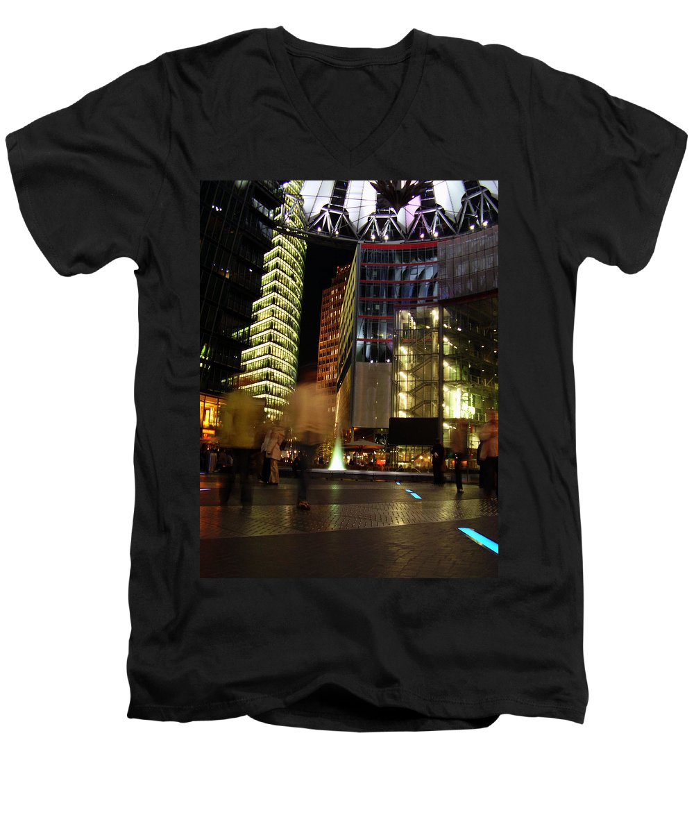 Sony Center Men's V-Neck T-Shirt featuring the photograph Sony Center by Flavia Westerwelle