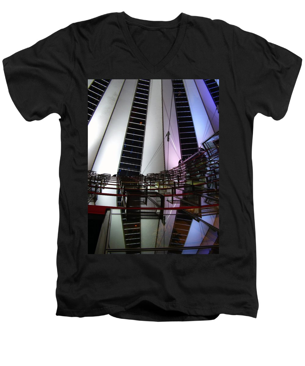 Sony Center Men's V-Neck T-Shirt featuring the photograph Sony Center II by Flavia Westerwelle