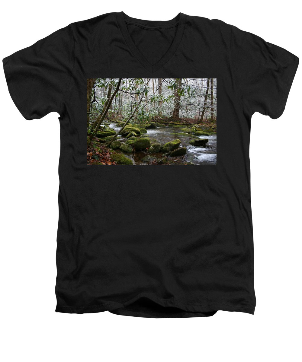 River Stream Creek Water Nature Rock Rocks Tree Trees Winter Snow Peaceful White Green Flowing Flow Men's V-Neck T-Shirt featuring the photograph Soothing by Andrei Shliakhau