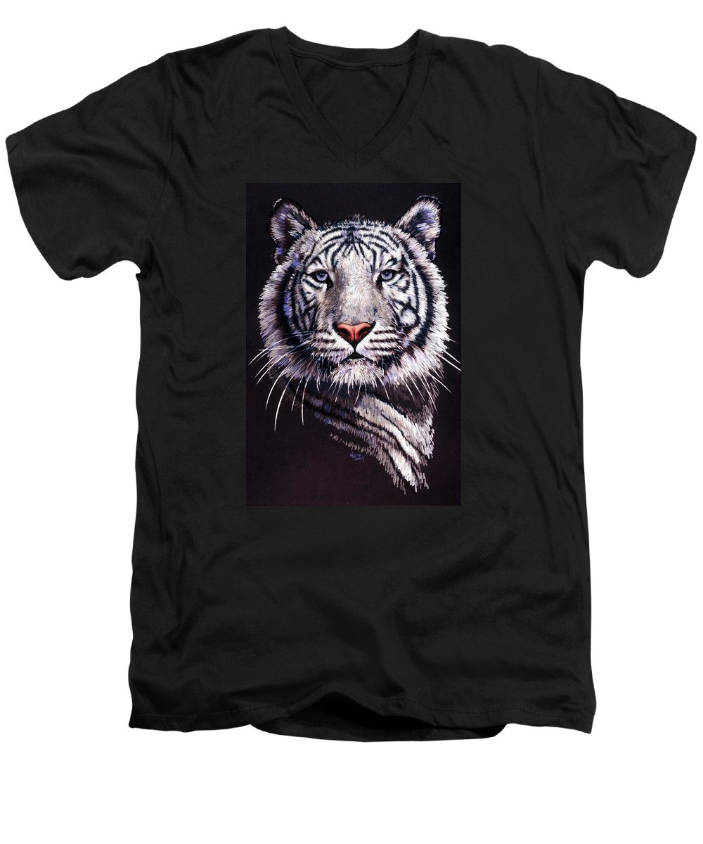 Tiger Men's V-Neck T-Shirt featuring the drawing Sorcerer by Barbara Keith