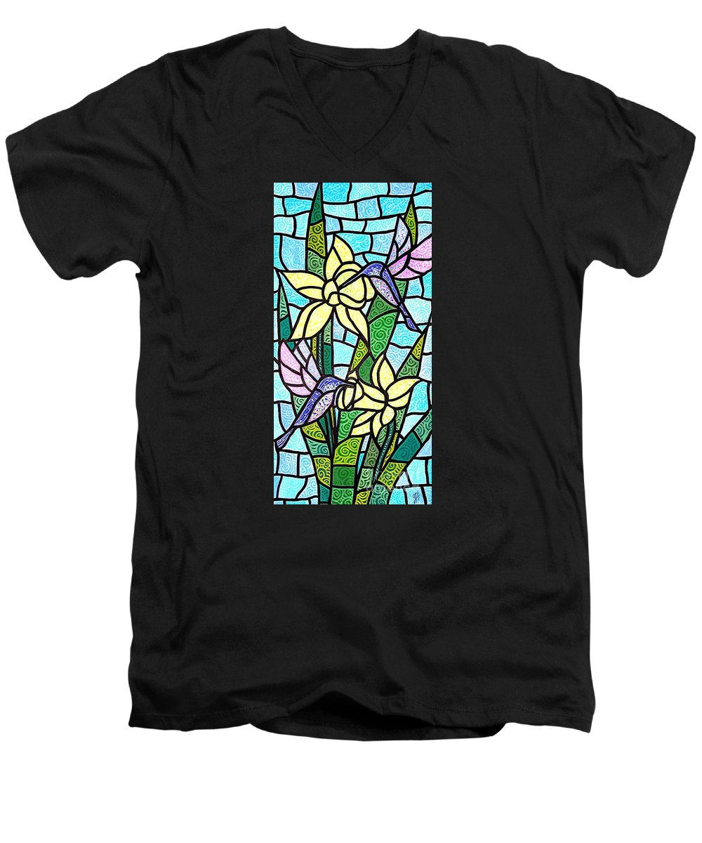 Flowers Men's V-Neck T-Shirt featuring the painting Spring Fling by Jim Harris